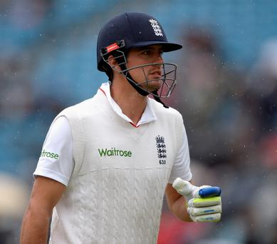 England captain Alastair Cook was 18 not out when the bad weather forced the players off