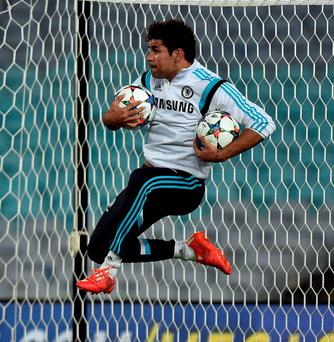 An energetic Diego Costa during Chelsea's training session in Sydney yesterday ahead of their friendly against the local team
