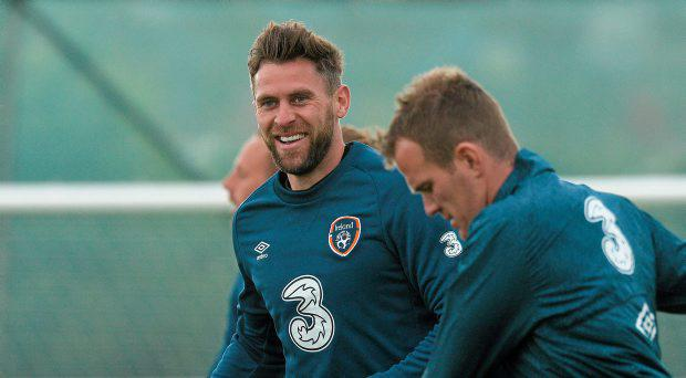 Republic of Ireland's Daryl Murphy in action during squad training. Republic of Ireland Squad Training, Gannon Park, Malahide, Co. Dublin