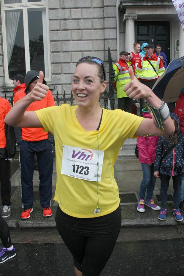 Date : Mon 1.6.15, The VHI Mini Marathon, Dublin, Ireland. Pictured taking part today, start @ 2pm were L to r; Kathryn Thomas, she ran in 52 mins. Pics : Mark Doyle 087-2837342, Dublin, Ireland.