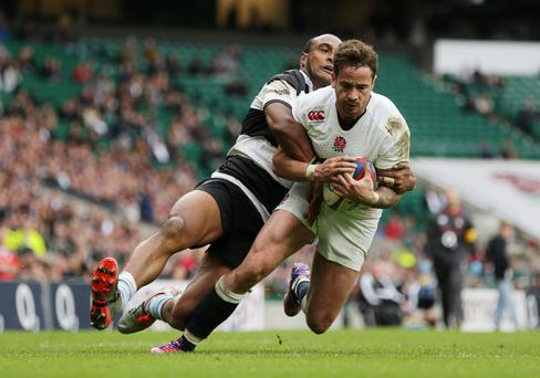 Danny Cipriani scores a try against the Barbarians hours before he was involved in a car crash