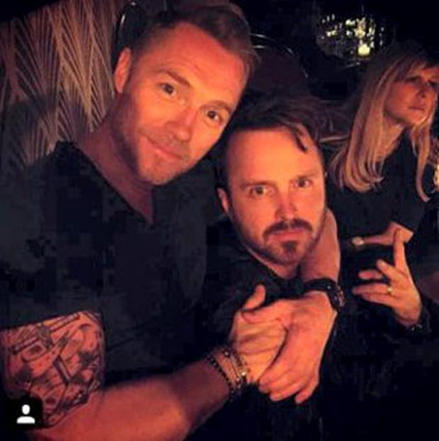 Ronan Keating with Aaron Paul in LA