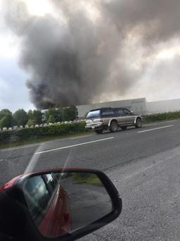 Smoke seen coming from the plant. Photo: Twitter @S_padden