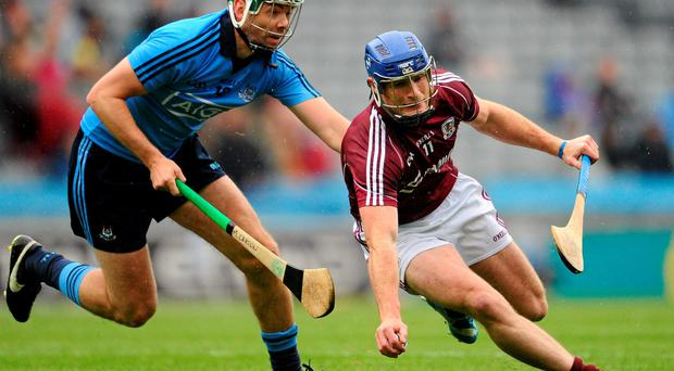 Dublin's Michael Carton in action against Cyril Donnellan of Galway during Sunday's Leinster hurling quarter-final