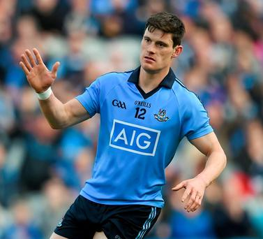 Dublin's Diarmuid Connolly celebrates scoring his side's first goal against Longford at Croke Park on Sunday