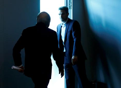 Sepp Blatter leaves the FIFA headquarters in Zurich yesterday after his statement announcing that he would be stepping down as FIFA president