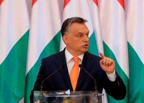 Hungarian Prime Minister Viktor Orban gives his state-of-the-nation speech in Budapest, Hungary. Photo: Reuters