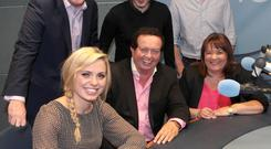 (Back Row)former Roscommon goalkeeper and Connacht championship winner Shane Curran,Paddy McKenna-Rte radio,former Kilkenny All Ireland winner David Herity, (Front Row)Cork Camogie star Anna Geary with Marty Morrissey and Brenda O Donohue of Rte Radio when details were announced of his Martys new show