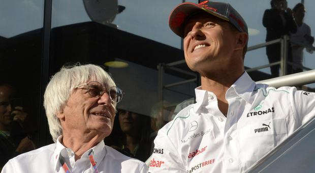 Bernie Ecclestone and Michael Schumacher during the German's time as a Formula One driver for Mercedes