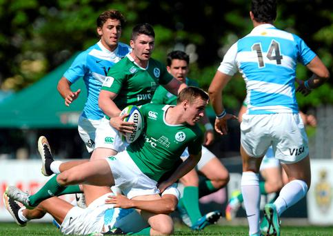 Nick McCarthy in action for Ireland during their victory over Argentina