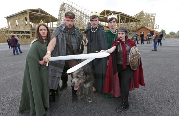 Queen Maedbh, Cu Chulainn, King Ailil, Conchubhar Macneassa, and Aife at the opening of the new Cu Chulainn Coaster at Tayto Park, Co. Meath this morning. The coaster is Europe's largest wooden rollercoaster with an inversion....Picture Colin Keegan, Collins Dublin.