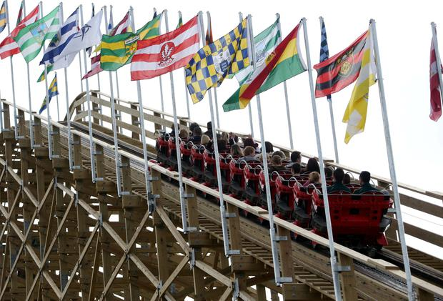 Some of the first people to ride the Cu Chulainn roller coaster as it starts it's steep asent at the opening of the new Cu Chulainn Coaster at Tayto Park Picture Colin Keegan, Collins Dublin.