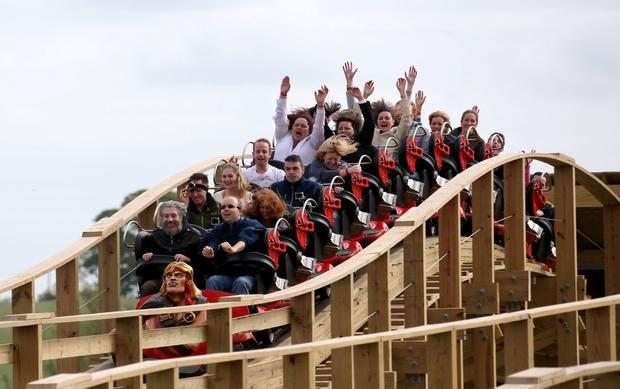 Some of the first people to ride the Cu Chulainn roller coaster at the opening of the new Cu Chulainn Coaster at Tayto Park Picture Colin Keegan, Collins Dublin.