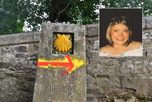 Spain's Camino de Santiago. Jenny O'Riordan, who died in 2002 (inset).