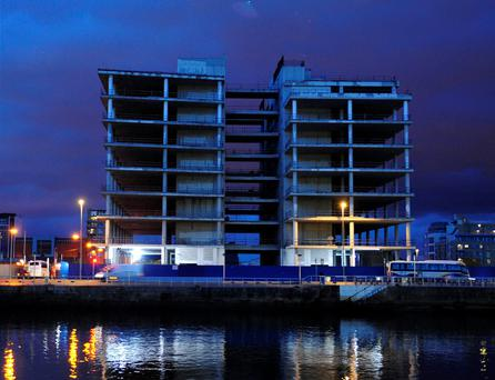 The site of Anglo Irish Bank's planned new HQ at North Wall Quay, Dublin, pictured in 2013. The project had been proposed before the bank's collapse