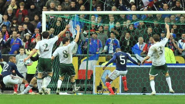 William Gallas scores after Thierry Henry had handled the ball in 2009