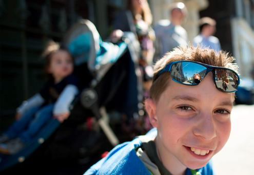 Kieran Sorkin as he leaves Great Ormond Street Hospital in London after he underwent a operation to have ears grafted on after being born without any