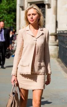 Former beauty queen Ekaterina Fields arrives at the High Court, London