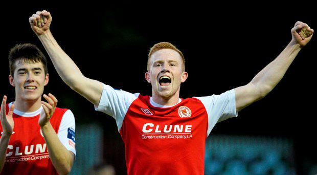 St Patrick's Athletic's Sean Hoare and Lee Desmond