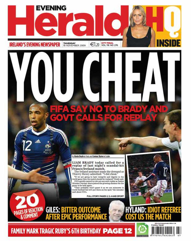 The front page of the Herald from November 19th 2009