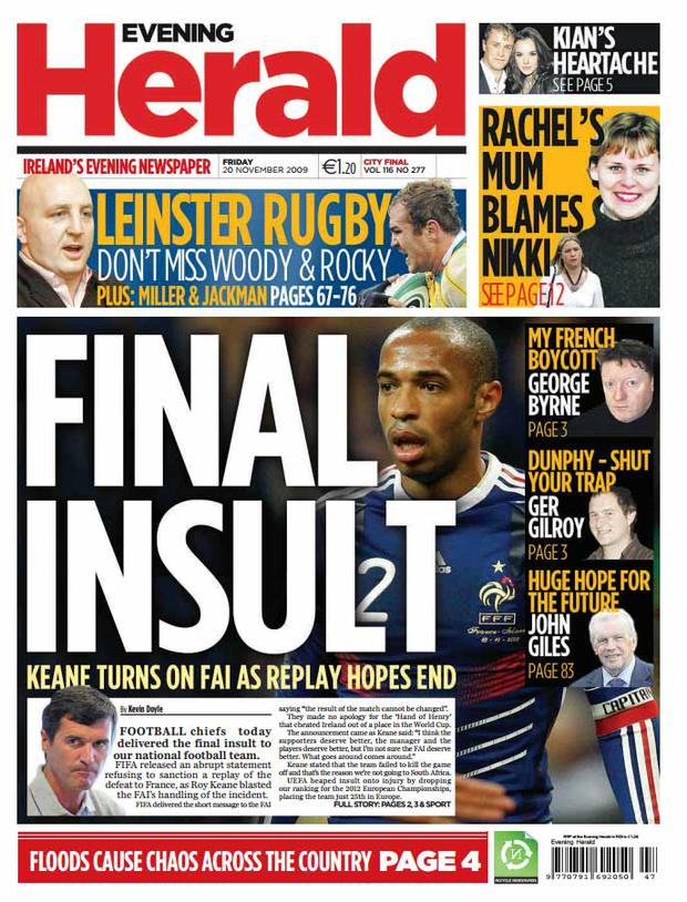 The front page of the Herald from November 20th 2009