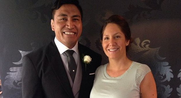 Jerry Collins with his wife Alana Madil on their wedding day in December 2014 Pic: Instagram