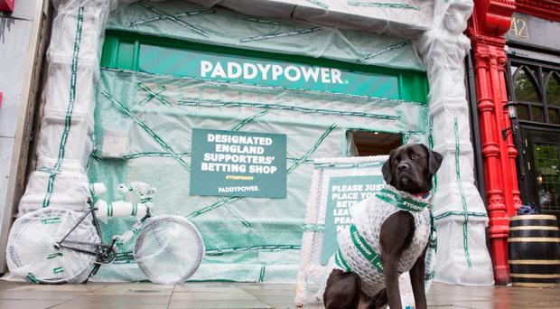 Paddy Power bookmakers have covered an entire shop with bubble wrap