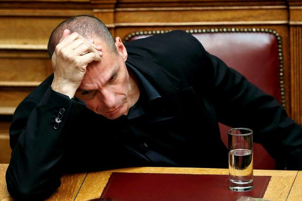 Greek Finance Minister Yanis Varoufakis attends a parliamentary session where Greek Prime Minister Alexis Tsipras will brief lawmakers over the ongoing talks with the country's lenders, in Athens, Greece. Photo: Reuters