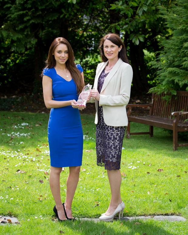 Una Foden, of The Saturdays, was presented yesterday with the Shannon Airport sponsored Tipperary Woman of the Year award by Shannon Group Company Secretary Mary Considine
