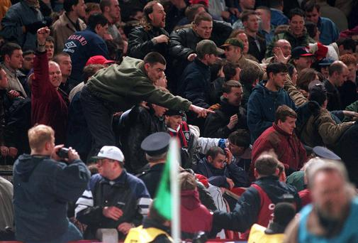England fans riot in Lansdowne Road during the game between Ireland and England on February 15, 1995. Photo: David Maher / SPORTSFILE