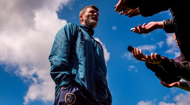 Ireland assistant manager Roy Keane speaks to the media at Malahide yesterday