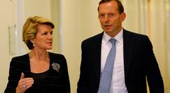 Julie Bishop with Australian PM Tony Abbot Credit: AFP/Getty Images