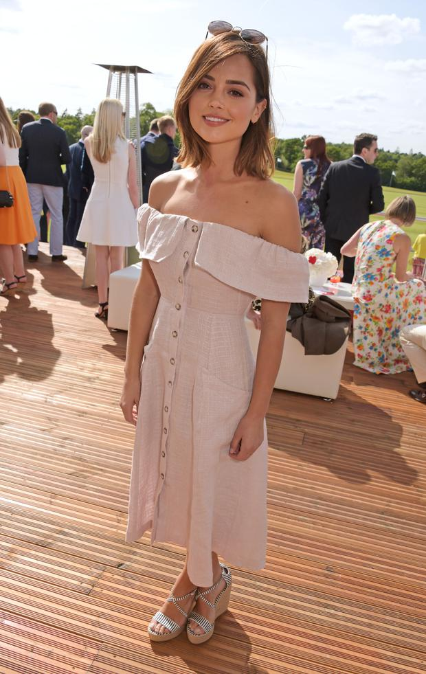 Jenna Coleman pictured at the polo match prior to spending time with Harry