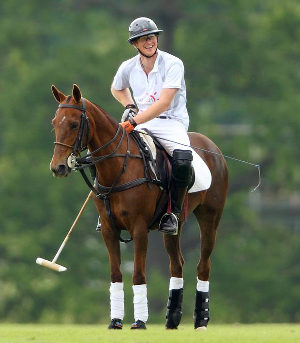 Prince Harry pictured at a charity polo match