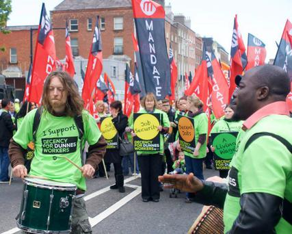 The march was in support for Dunnes workers to be offered more full-time contracts @WSMIreland