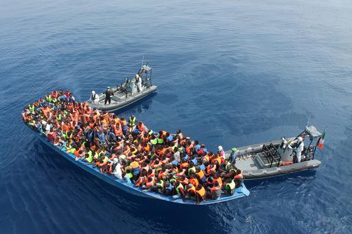 Migrants rescued by the Irish navy on the Le Eithne off the Libyan coast. Credit: Defence Forces