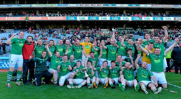 6 June 2015; Fermanagh players celebrate with the Lory Meagher Cup. Lory Meagher Cup Final, Sligo v Fermanagh. Croke Park, Dublin. Picture credit: Matt Browne / SPORTSFILE