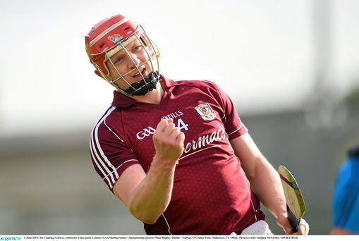 6 June 2015; Joe Canning, Galway, celebrates a late point. Leinster GAA Hurling Senior Championship Quarter-Final Replay, Dublin v Galway. O'Connor Park, Tullamore, Co. Offaly. Picture credit: Stephen McCarthy / SPORTSFILE