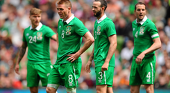 Irish players look on during the goalless draw against England at the Aviva Stadium