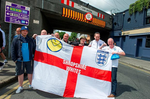 England football fans gather ahead of the international friendly match between the Republic of Ireland vs England at the Aviva Stadium
