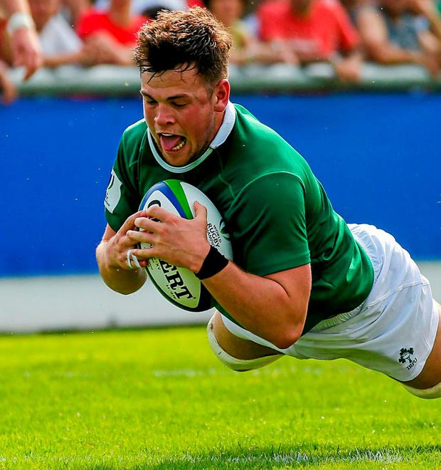 Conor Oliver goes over for Ireland's second try during their U-20 World Championship clash in Calvisano, Italy