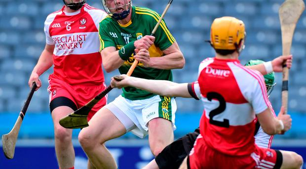 Kerry's Shane Nolan scores the game's only goal against Derry during Saturday's Christy Ring Cup final at Croke Park