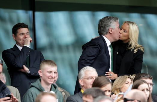 FAI CEO John Delaney with his partner Emma English while Minister of Transfer, Tourism and Sport Paschal Donohoe looks on (Photo: ©INPHO/Morgan Treacy)