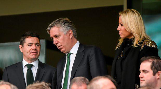 FAI chief Executive John Delaney and his girlfriend Emma English with Minister for Transport, Tourism and Sport, Paschal Donohoe T.D.