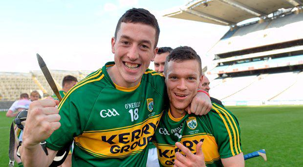 Kerry players Thomas Casey and Colum Harty celebrate after the final whistle. Christy Ring Cup Final, Kerry v Derry. Croke Park, Dublin