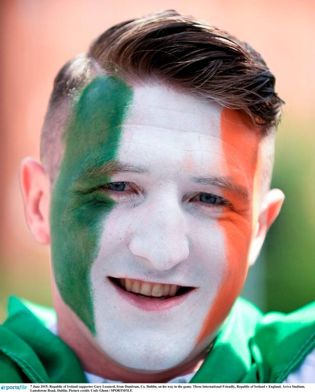 7 June 2015; Republic of Ireland supporter Gary Leonard, from Dundrum, Co. Dublin, on his way to the game. Three International Friendly, Republic of Ireland v England. Aviva Stadium, Lansdowne Road, Dublin. Picture credit: Cody Glenn / SPORTSFILE