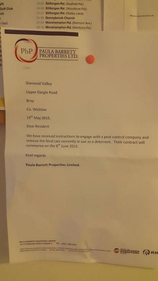 The letter sent to residents telling them the cats would be removed