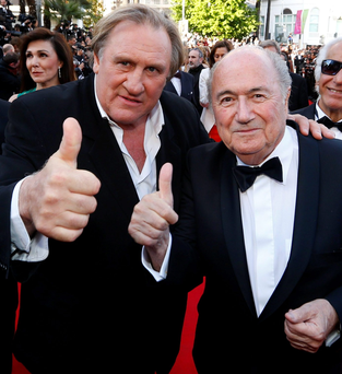 Actor Gerard Depardieu with Sepp Blatter at the Cannes premiere of 'United Passions'
