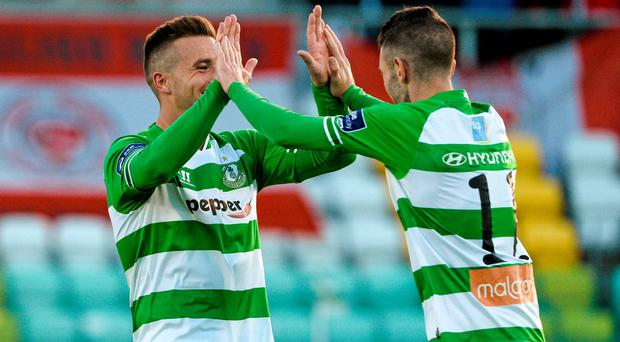 Kieran Marty Waters, right , Shamrock Rovers, celebrates after scoring his side's second goal with teammate Mikey Drennan