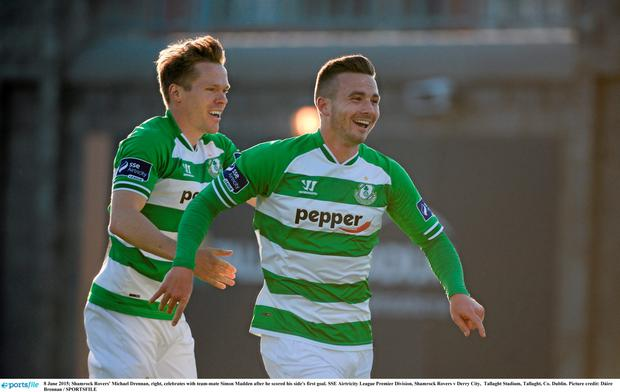 Shamrock Rovers' Michael Drennan, right, celebrates with team-mate Simon Madden